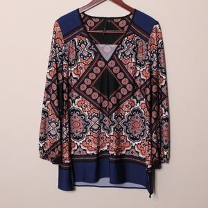 Kay Celine Navy Multicolored Floral Blouse